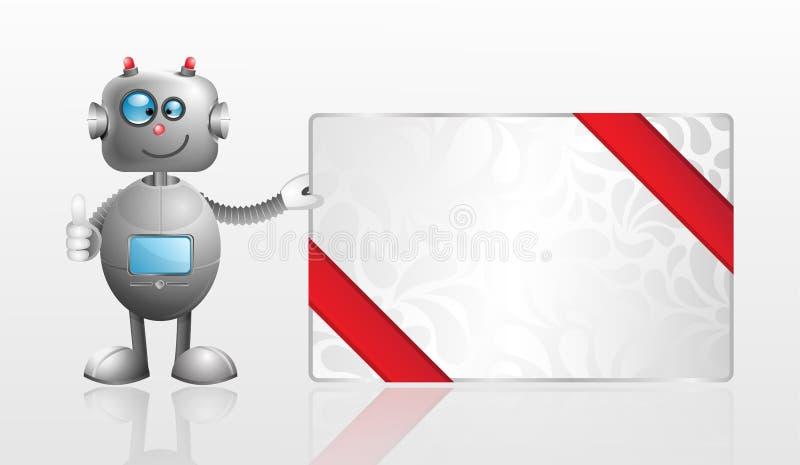 ρομπότ δώρων κινούμενων σχεδίων καρτών διανυσματική απεικόνιση