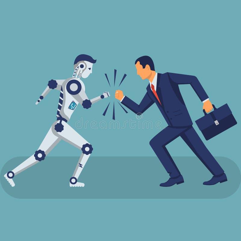 Ρομπότ εναντίον του ανθρώπου έννοια εναντίον απεικόνιση αποθεμάτων