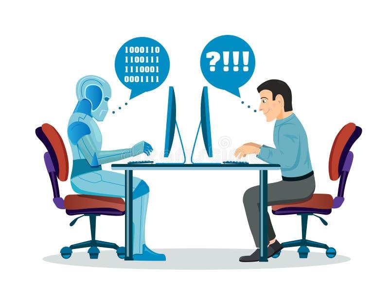 Ρομπότ εναντίον του ανθρώπου Ρομποτικά μηχανή και άτομο που λειτουργούν στον υπολογιστή διανυσματική απεικόνιση