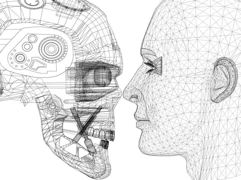 Ρομπότ και ανθρώπινο επικεφαλής σχέδιο - σχεδιάγραμμα αρχιτεκτόνων - που απομονώνεται ελεύθερη απεικόνιση δικαιώματος