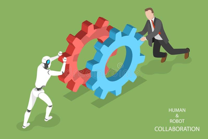Ρομπότ και ανθρώπινο isometric διάνυσμα συνεργασίας απεικόνιση αποθεμάτων