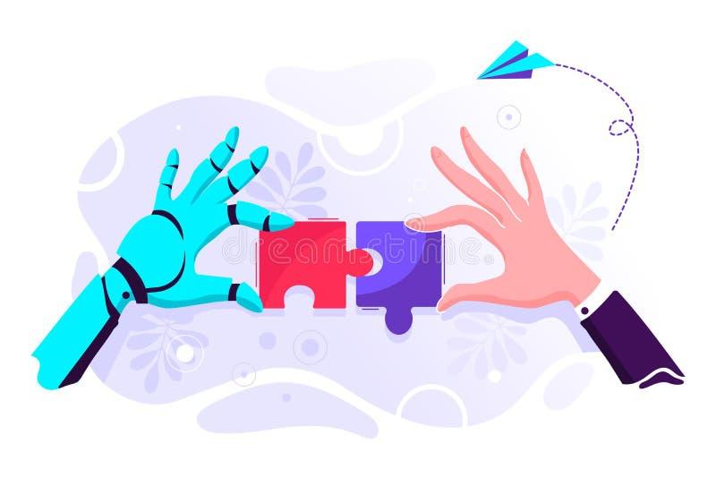 Ρομπότ και επιχειρηματίας απεικόνιση αποθεμάτων