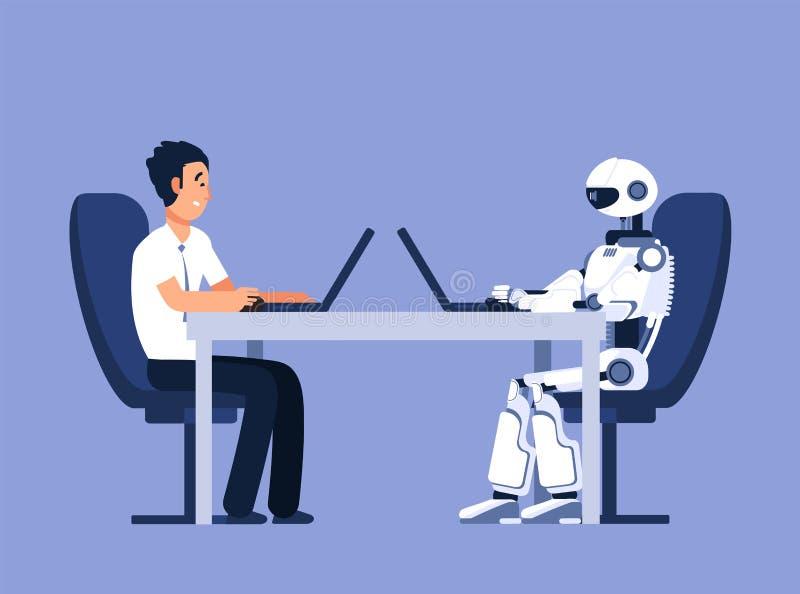 Ρομπότ και επιχειρηματίας Ρομπότ εναντίον της ανθρώπινης, μελλοντικής σύγκρουσης αντικατάστασης AI, διανυσματική έννοια τεχνητής  διανυσματική απεικόνιση