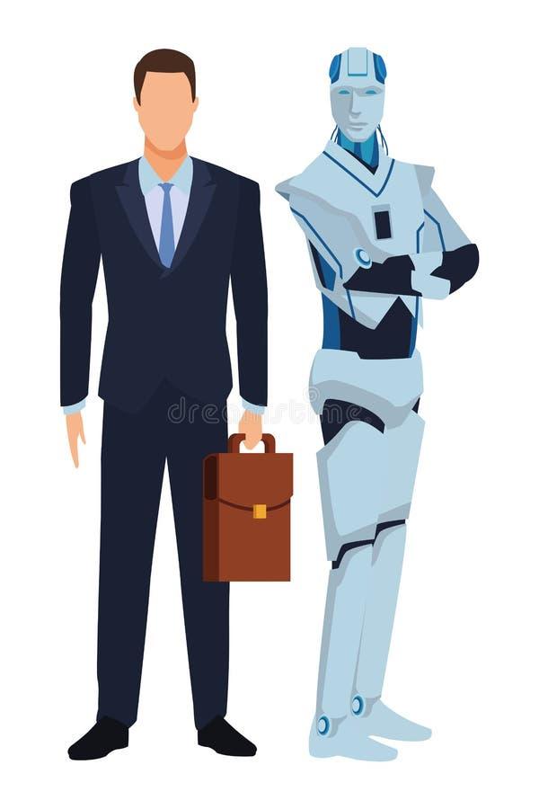 Ρομπότ και επιχειρηματίας Humanoid διανυσματική απεικόνιση