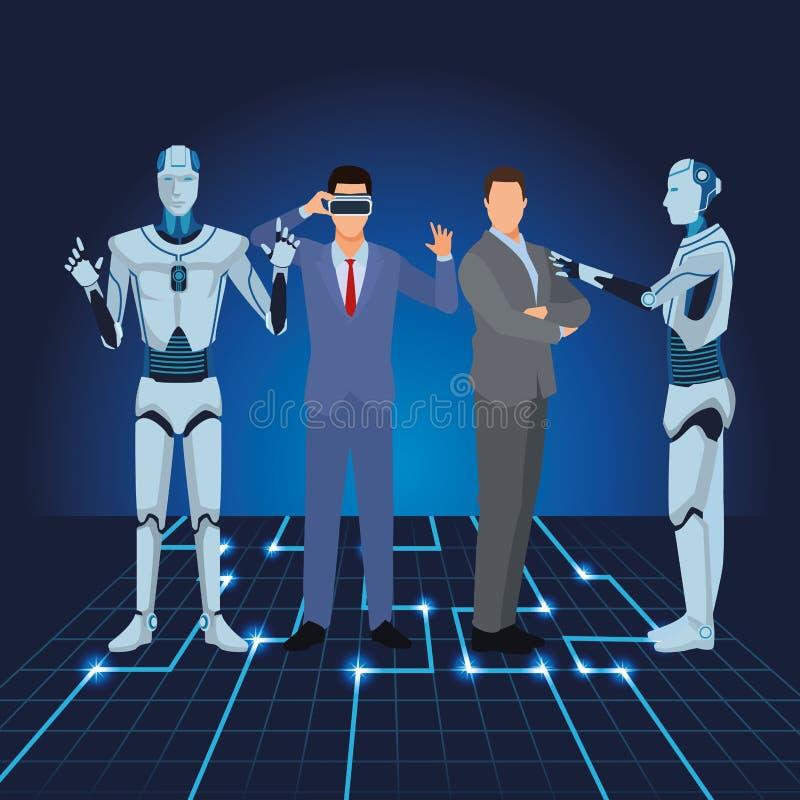 Ρομπότ και επιχειρηματίες Humanoid ελεύθερη απεικόνιση δικαιώματος