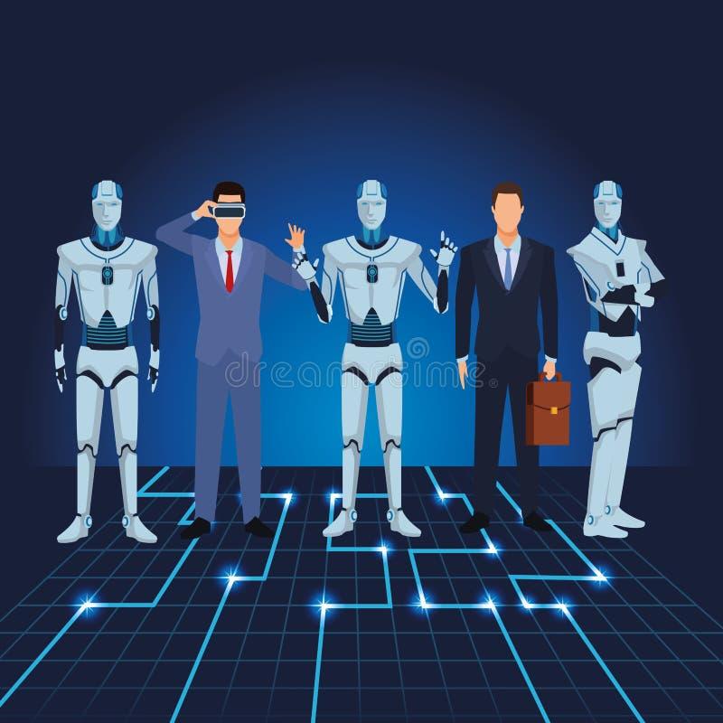 Ρομπότ και επιχειρηματίες Humanoid διανυσματική απεικόνιση