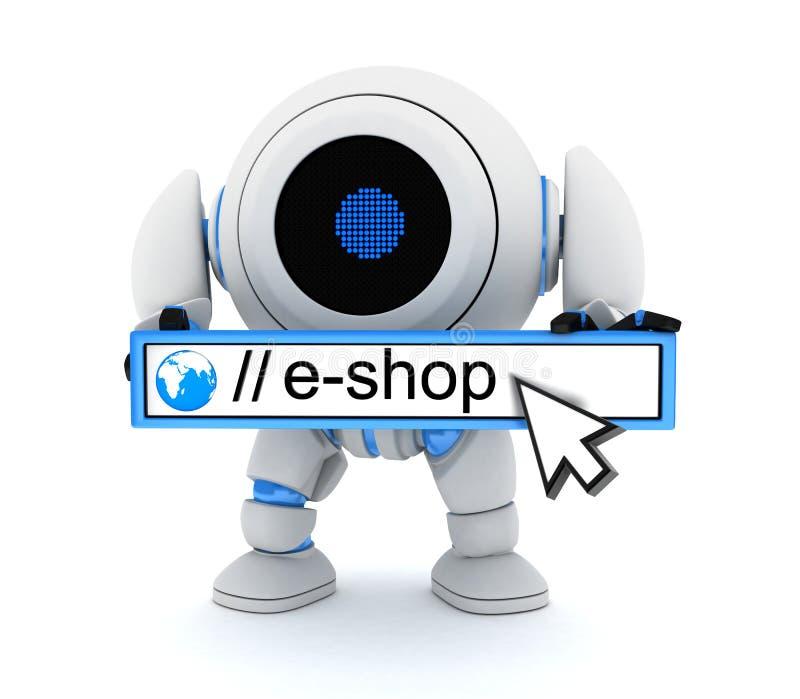 Ρομπότ και ε-κατάστημα διανυσματική απεικόνιση