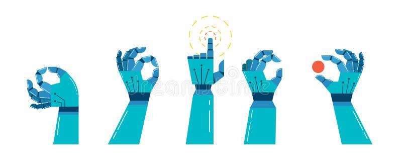Ρομπότ και μηχανικό έμβλημα χεριών, σχέδιο έννοιας διανυσματική απεικόνιση