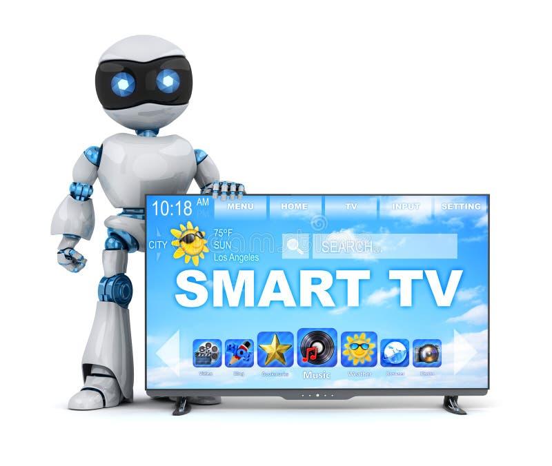 Ρομπότ και σύγχρονη έξυπνη TV διανυσματική απεικόνιση