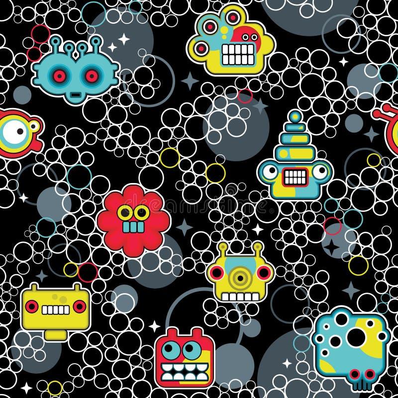 Ρομπότ και τέρατα με το άνευ ραφής σχέδιο φυσαλίδων. διανυσματική απεικόνιση