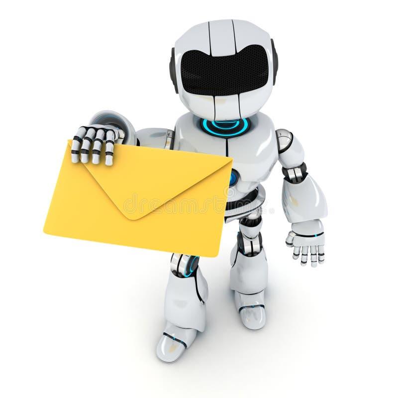 Ρομπότ και ταχυδρομείο ελεύθερη απεικόνιση δικαιώματος