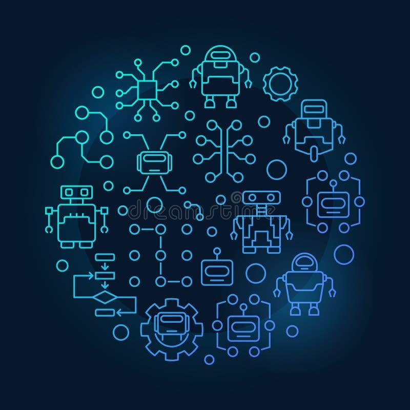 Ρομπότ και AI γύρω από την μπλε απεικόνιση ελεύθερη απεικόνιση δικαιώματος