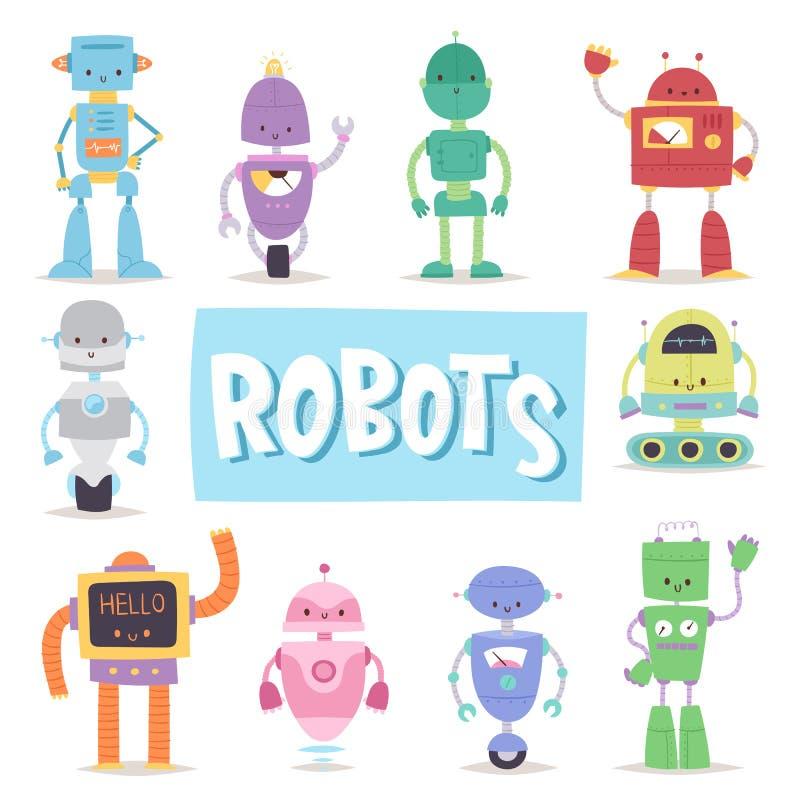 Ρομπότ και androids μετασχηματιστών αναδρομικό κινούμενων σχεδίων παιχνιδιών διάνυσμα μηχανών ρομποτικής χαρακτήρα μελλοντικό τεχ ελεύθερη απεικόνιση δικαιώματος