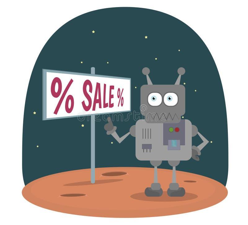 Ρομπότ κινούμενων σχεδίων που στέκεται στον πλανήτη στο διάστημα που παρουσιάζει σημάδι με το διανυσματικό υπόβαθρο πώλησης κειμέ απεικόνιση αποθεμάτων