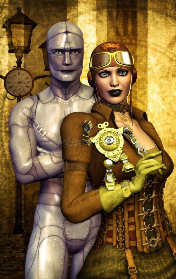 ρομπότ κοριτσιών steampunk διανυσματική απεικόνιση