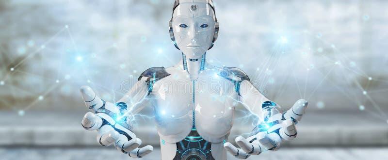Ρομπότ λευκών γυναικών που χρησιμοποιεί την τρισδιάστατη απόδοση σύνδεσης ψηφιακών δικτύων στοκ εικόνες