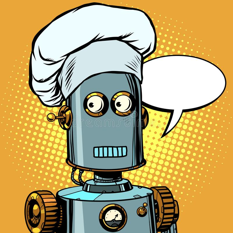 Ρομπότ μαγειρεύουν, παίρνουν εντολές στο εστιατόριο ελεύθερη απεικόνιση δικαιώματος