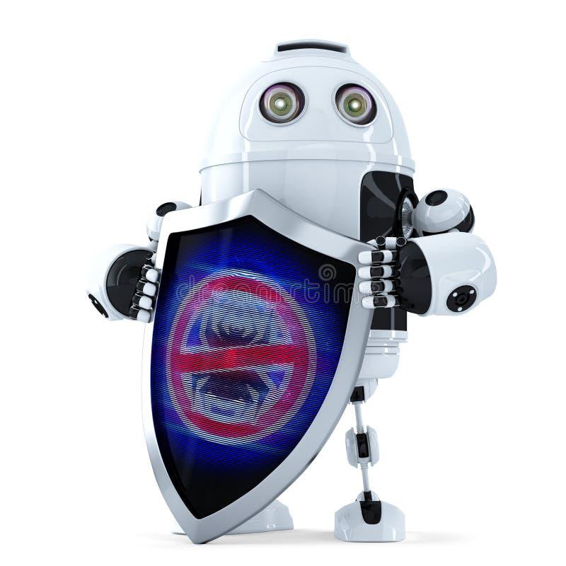Ρομπότ με την ασπίδα Έννοια προστασίας ιών απομονωμένος Περιέχει το μονοπάτι ψαλιδίσματος απεικόνιση αποθεμάτων