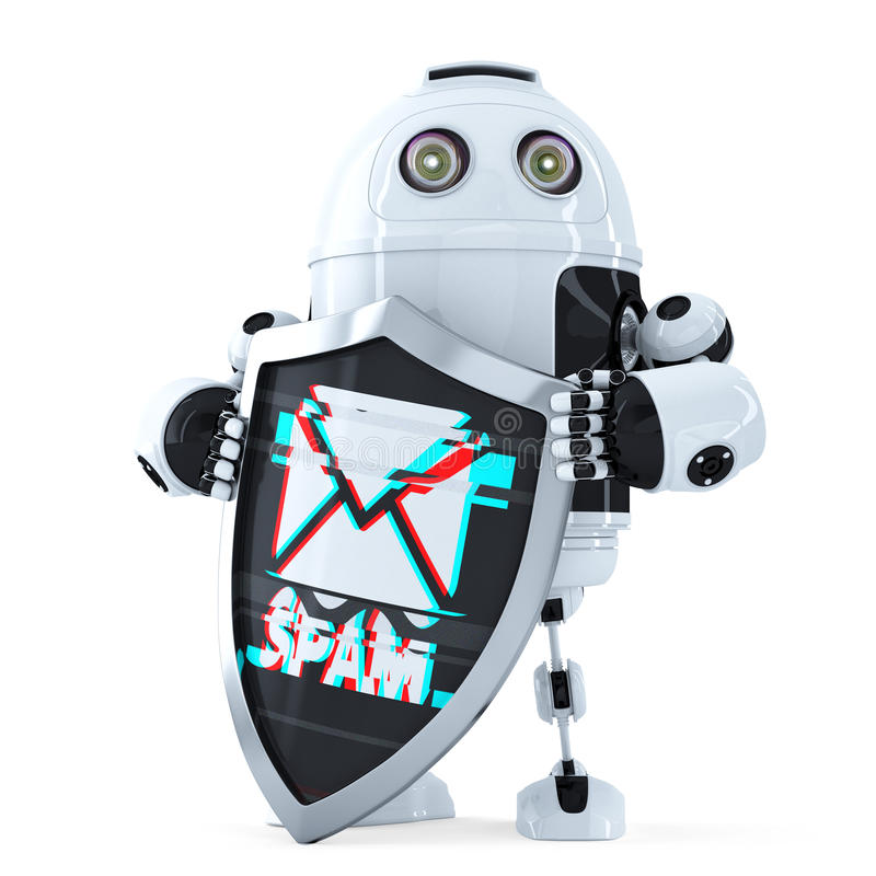 Ρομπότ με την ασπίδα Έννοια προστασίας Spam απομονωμένος Περιέχει το μονοπάτι ψαλιδίσματος διανυσματική απεικόνιση