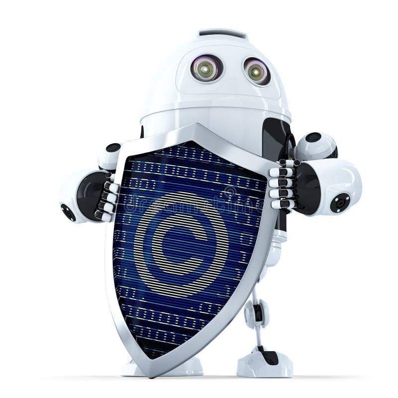 Ρομπότ με την ασπίδα και σύμβολο πνευματικών δικαιωμάτων σε το απομονωμένος Περιέχει το μονοπάτι ψαλιδίσματος ελεύθερη απεικόνιση δικαιώματος