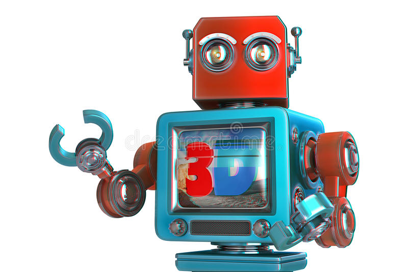 Ρομπότ με την οθόνη TV τρισδιάστατη εικόνα έννοιας TV απομονωμένος Περιέχει το μονοπάτι ψαλιδίσματος ελεύθερη απεικόνιση δικαιώματος