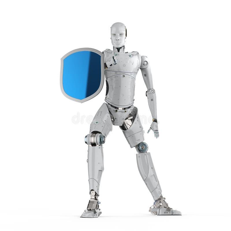 Ρομπότ με την προστασία ασπίδων διανυσματική απεικόνιση