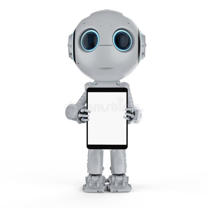 Ρομπότ με την ταμπλέτα ελεύθερη απεικόνιση δικαιώματος