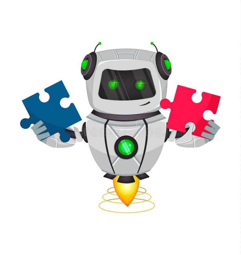 Ρομπότ με την τεχνητή νοημοσύνη, BOT Ο αστείος χαρακτήρας κινουμένων σχεδίων κρατά δύο κομμάτια του γρίφου Κυβερνητικός οργανισμό ελεύθερη απεικόνιση δικαιώματος