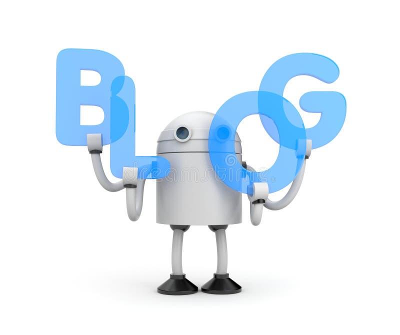 Ρομπότ με τη λέξη BLOG διανυσματική απεικόνιση