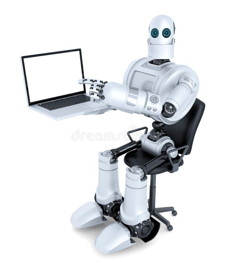 Ρομπότ με τη συνεδρίαση lap-top στην καρέκλα γραφείων απομονωμένος Περιέχει την πορεία ψαλιδίσματος της ολόκληρης οθόνης σκηνής κ απεικόνιση αποθεμάτων