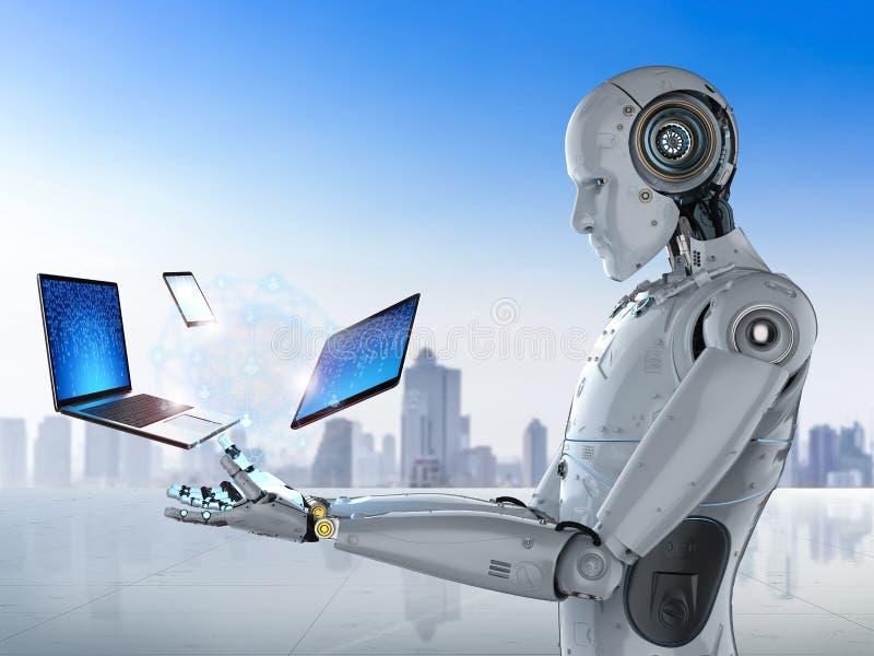 Ρομπότ με τη συσκευή διανυσματική απεικόνιση