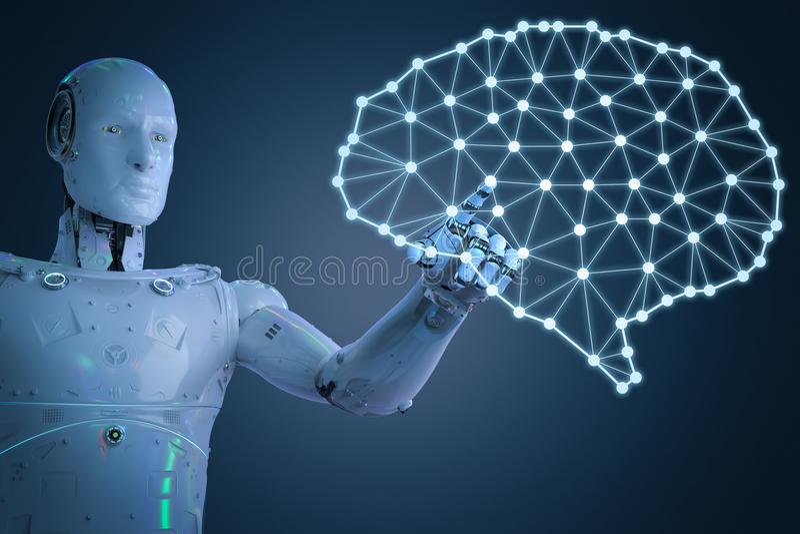Ρομπότ με τον εγκέφαλο AI ελεύθερη απεικόνιση δικαιώματος
