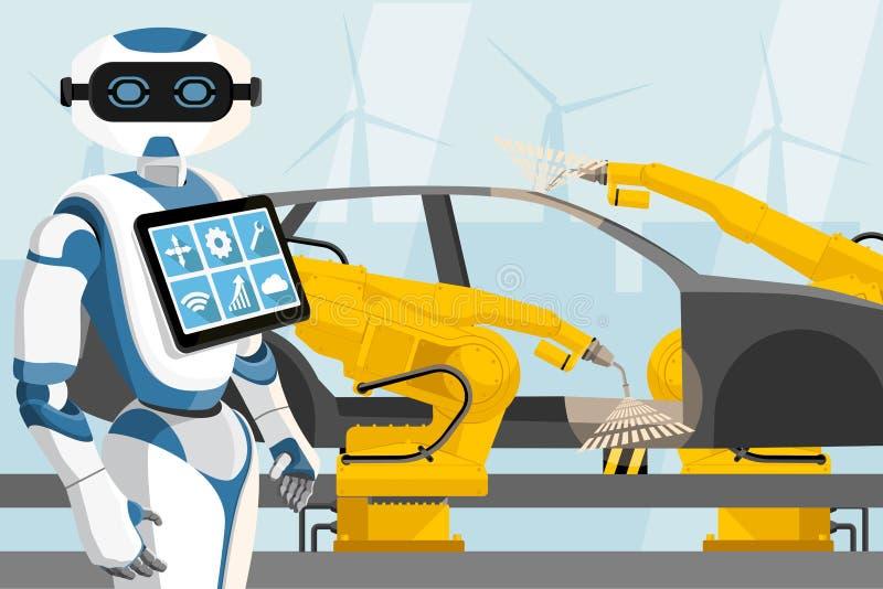 Ρομπότ με τους ελέγχους τα ρομπότ συγκόλλησης διανυσματική απεικόνιση