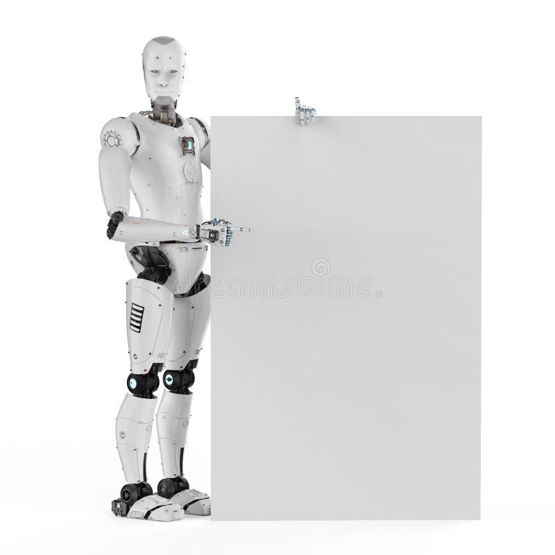Ρομπότ με το άσπρο κενό έγγραφο διανυσματική απεικόνιση