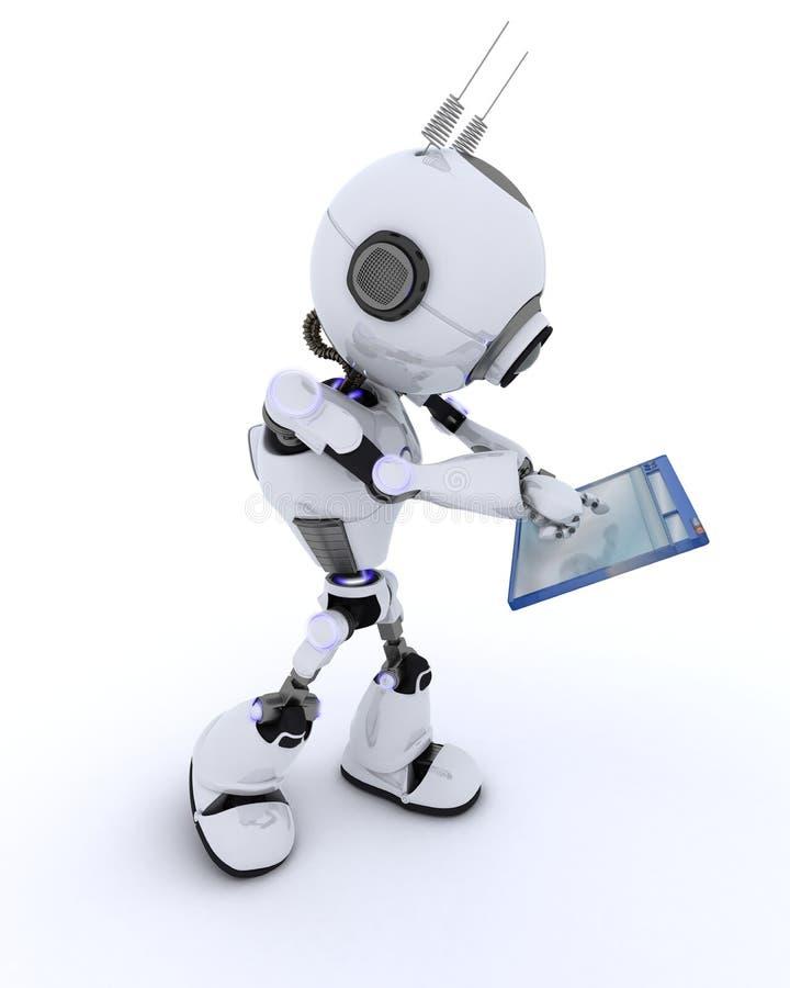 Ρομπότ με το παράθυρο υπολογιστών διανυσματική απεικόνιση