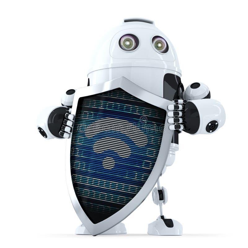Ρομπότ με το σύμβολο ασπίδων και wifi σε το τρισδιάστατη έννοια Διαδίκτυο που δίνει την ασφάλεια απομονωμένος Περιέχει το μονοπάτ ελεύθερη απεικόνιση δικαιώματος