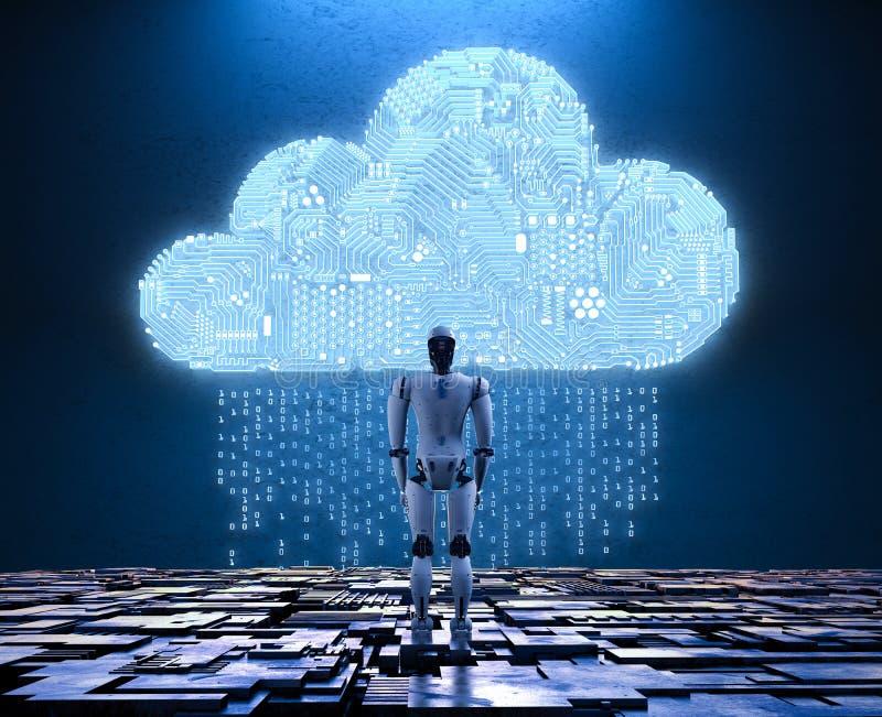 Ρομπότ με το σύννεφο κυκλωμάτων διανυσματική απεικόνιση