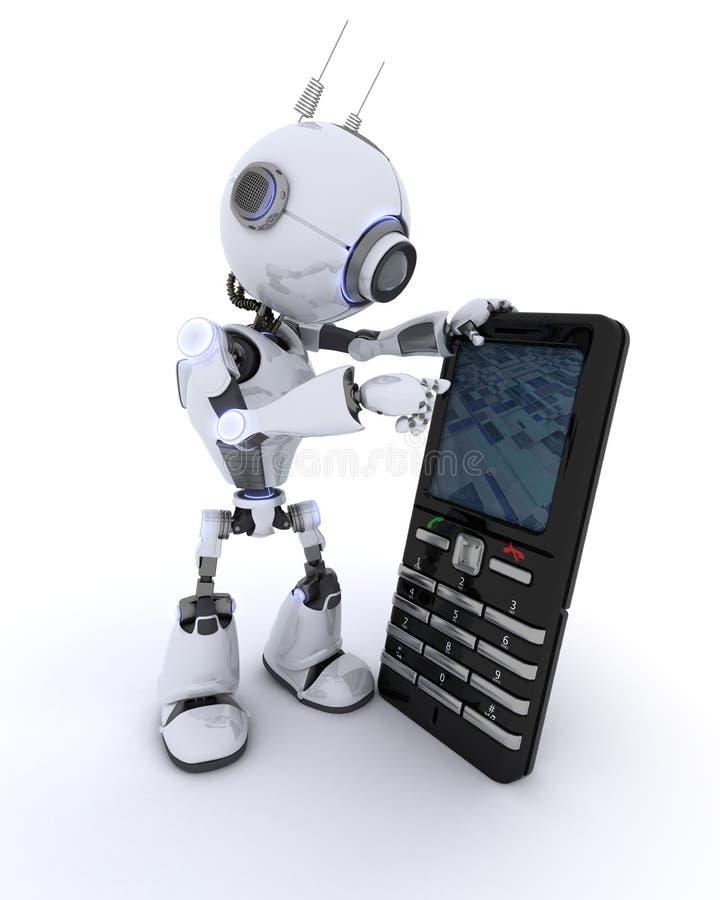 Ρομπότ με το τηλέφωνο κυττάρων διανυσματική απεικόνιση