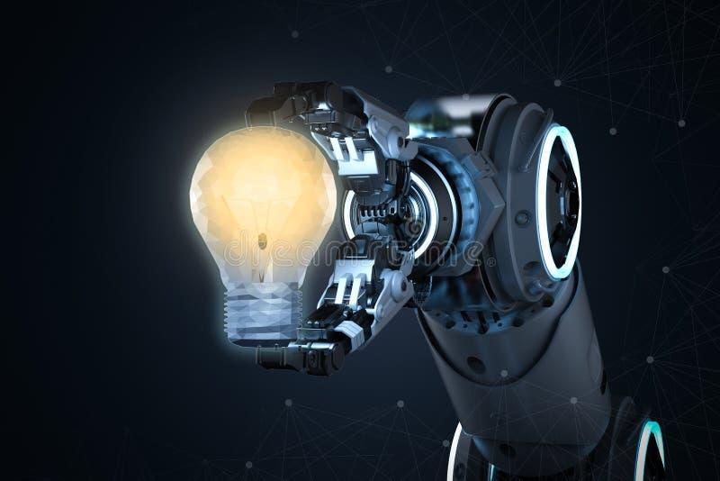 Ρομπότ με το lightbulb ελεύθερη απεικόνιση δικαιώματος