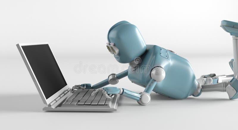Ρομπότ με το netbook ελεύθερη απεικόνιση δικαιώματος