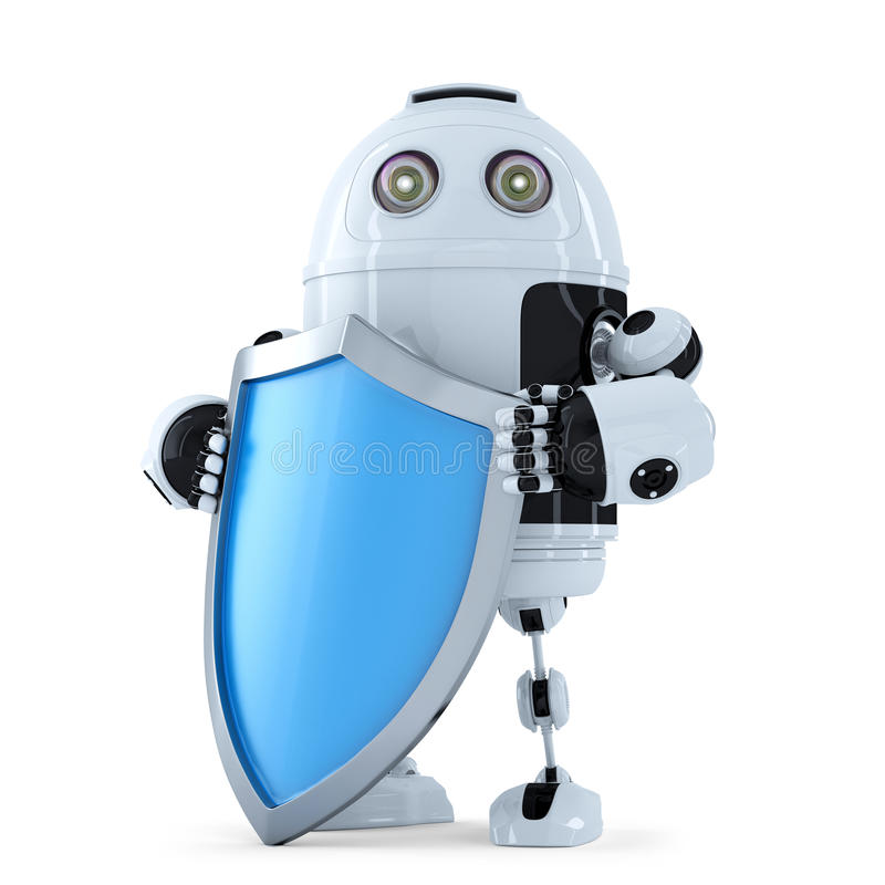 Ρομπότ με το shielad απομονωμένο λευκό ασφάλειας ανασκόπησης έννοια απομονωμένος Περιέχει το μονοπάτι ψαλιδίσματος απεικόνιση αποθεμάτων