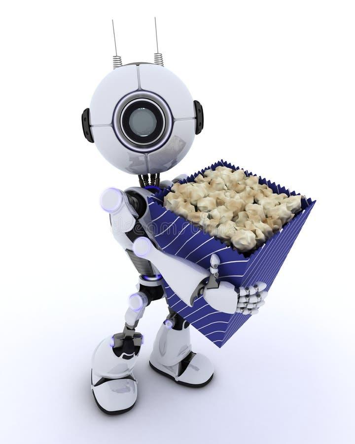 Ρομπότ με popcorn διανυσματική απεικόνιση