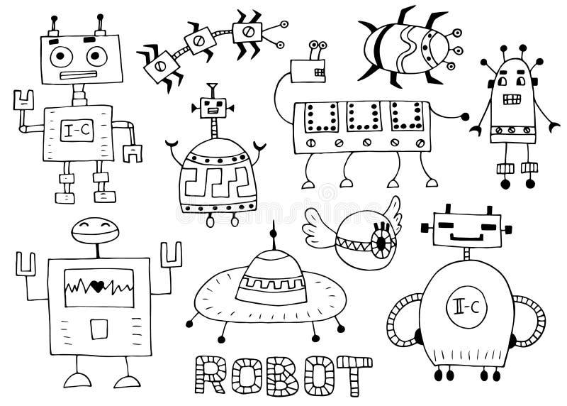 Ρομπότ παιχνιδιών καθορισμένο - αναδρομικό διάνυσμα συλλογής ρομπότ ελεύθερη απεικόνιση δικαιώματος