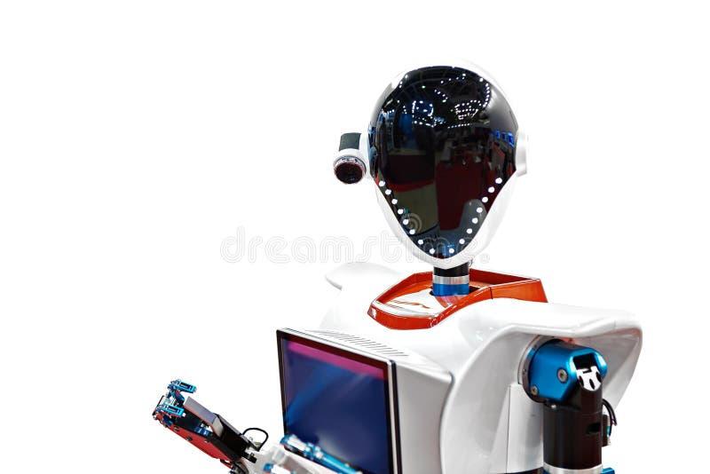 Ρομπότ που απομονώνεται αρρενωπό στοκ φωτογραφίες