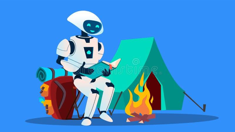 Ρομπότ που διαβάζει ένα βιβλίο κοντά στο διάνυσμα εστιών απομονωμένη ωθώντας s κουμπιών γυναίκα έναρξης χεριών απεικόνιση ελεύθερη απεικόνιση δικαιώματος