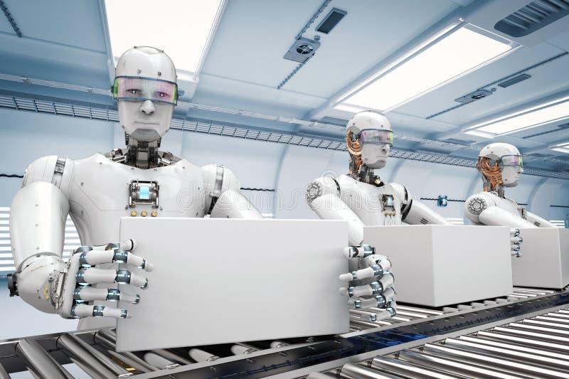 Ρομπότ που λειτουργεί με τα άσπρα κιβώτια διανυσματική απεικόνιση