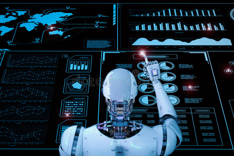 Ρομπότ που λειτουργεί με την ψηφιακή επίδειξη στοκ φωτογραφία
