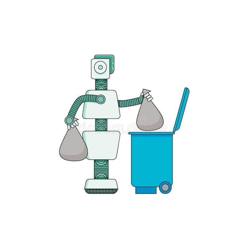 Ρομπότ που κάνει τα οικιακά - αρρενωπά παίρνοντας έξω τα απορρίμματα που απομονώνονται στο άσπρο υπόβαθρο ελεύθερη απεικόνιση δικαιώματος