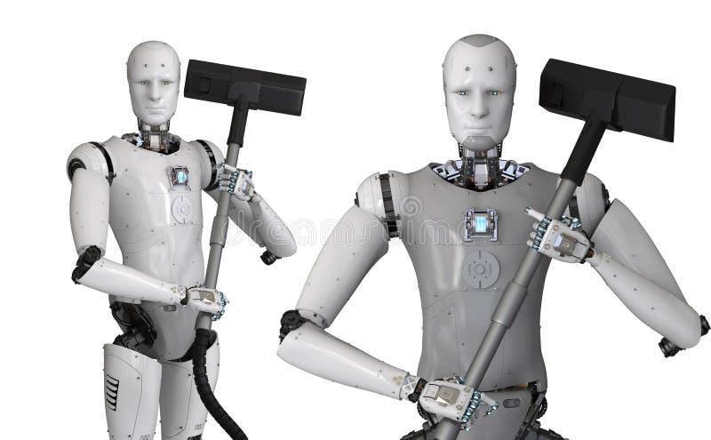 Ρομπότ που κρατά την ηλεκτρική σκούπα ελεύθερη απεικόνιση δικαιώματος
