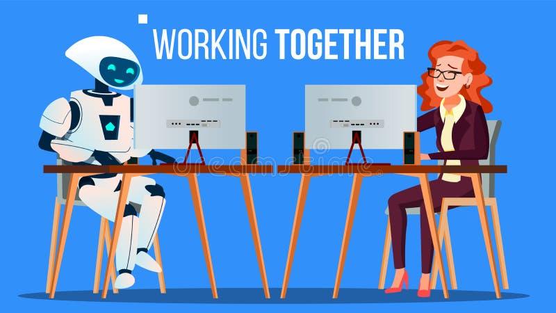 Ρομπότ που λειτουργεί στο γραφείο στο γραφείο υπολογιστών μαζί με το διάνυσμα ανθρώπων απομονωμένη ωθώντας s κουμπιών γυναίκα ένα διανυσματική απεικόνιση